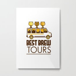Beer Flight Glass Van Best Brew Tours Retro Metal Print