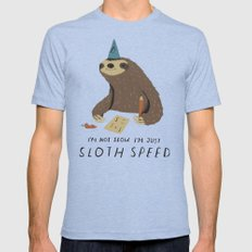 sloth speed MEDIUM Tri-Blue Mens Fitted Tee