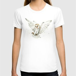 Barn Owl Flying Watercolor   Wildlife Animals T-shirt