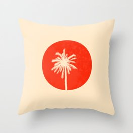 the palm with sunset Throw Pillow