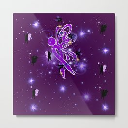Power Purple For a Cure - Fairy Dust Metal Print