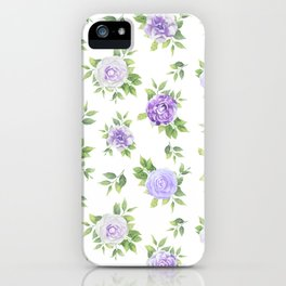 Hand painted lavender violet green watercolor floral iPhone Case