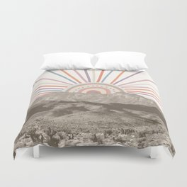 Summerlin Mountain // Abstract Vintage Mountains Summer Sun Vibe Drawing Happy Wall Hanging Duvet Cover