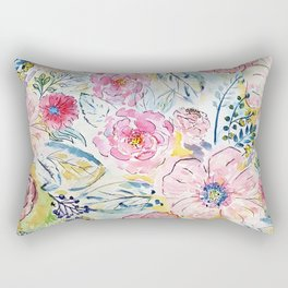 Watercolor hand paint floral design Rectangular Pillow