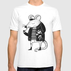 Rat Ship MEDIUM White Mens Fitted Tee