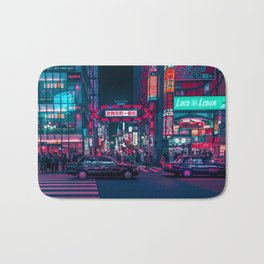 Cyberpunk Tokyo Street Bath Mat