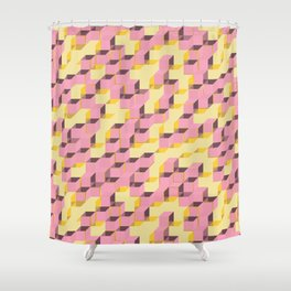 Pixel Cube - Pink Gold Shower Curtain