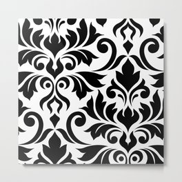 Flourish Damask Art I Black on White Metal Print