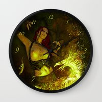 witchcraft Wall Clocks featuring Witchcraft by Pinturero