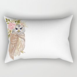 Owl with flower crown Rectangular Pillow