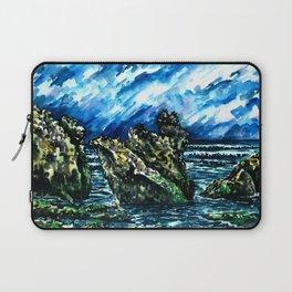 Bali Bingin beach watercolor painting landscape picture Laptop Sleeve