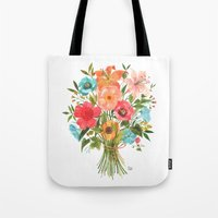 oana befort Tote Bags featuring BOUQUET by Oana Befort