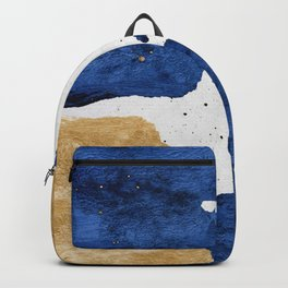 Gold and Navy Blue paint Backpack