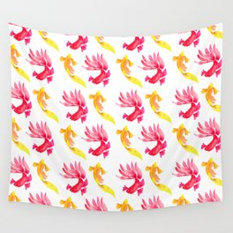 Tropical Fish Pattern (red and yellow palette) Wall Tapestry