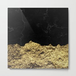 Rough Gold Torn and Black Marble Metal Print