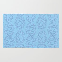 Rustic Pine Cone Illustrated Print in Blue and Purple Rug
