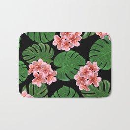 Tropical Floral Print Black Bath Mat
