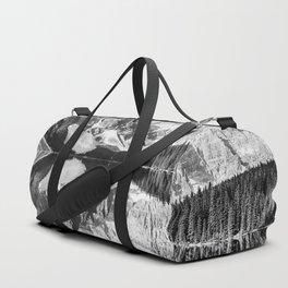 Moraine Lake Reflection Black and White Duffle Bag