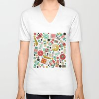 sewing V-neck T-shirts featuring Gran's Sewing Basket by heidi kenney
