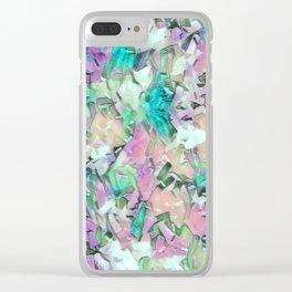 Aqua Pink Mix Confetti Clear iPhone Case
