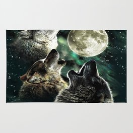 three wolf moon Rug