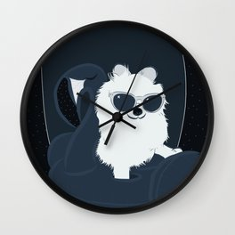 SPACE DOG - DIGITAL DRAWING BLUE PALETTE Wall Clock