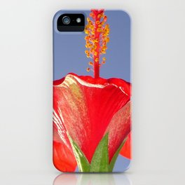 Tropical Red Hibiscus Flower Against Blue Sky iPhone Case