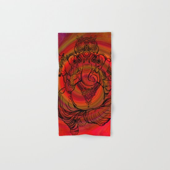 Lord Ganesha on Red Spiral Hand & Bath Towel