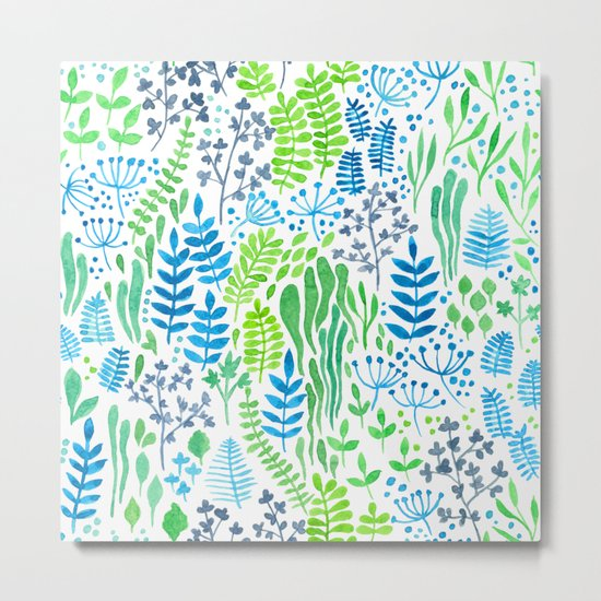 Watercolor floral doodles white Metal Print