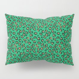 Greenery Green and Beige Leopard Spotted Animal Print Pattern Pillow Sham