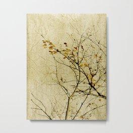 Nature Floral Print Collage in Warm Tones Metal Print