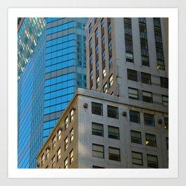 Manhattan Windows - Blue Art Print