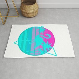 Flamingo in a Vintage 80s Beach with palms Vaporwave Style print Rug