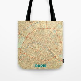Paris Map Retro Tote Bag