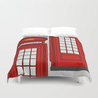 telephone Duvet Covers featuring Telephone Booth by Maria Lauren Lambiris