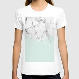 Real White Marble Half Mint Green Shapes T-shirt