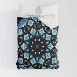 Blue Black Mosaic Kaleidoscope Mandala Duvet Cover