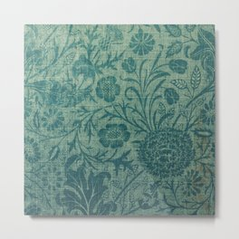 art Nouveau,teal,William Morris style, floral,chic,elegant,modern,trending,victorian decor,floral pa Metal Print