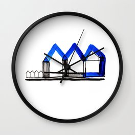 Houses in Blue No.: 02 Wall Clock