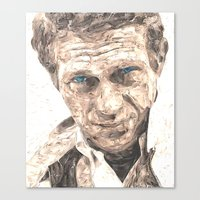 steve mcqueen Canvas Prints featuring Steve McQueen   Version 2 by Miguel A. Martin