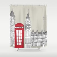 telephone Shower Curtains featuring London Red Telephone Box by bluebutton studio