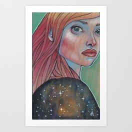Girl with night dress Art Print