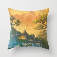 meditation Throw Pillows featuring Meditation  by Michael Jared DiMotta Illustrations