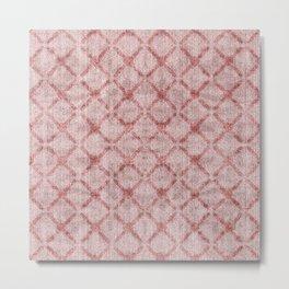 Faux Velvet Dusty Pink Lattice Pattern Metal Print