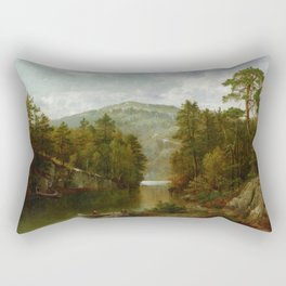 A View On Lake George 1876 By David Johnson | Reproduction | Romanticism Landscape Painter Rectangular Pillow