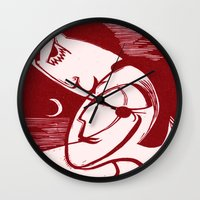 asexual Wall Clocks featuring Asexual Kiss By The Sea And Under A Crescent Moon by taiche