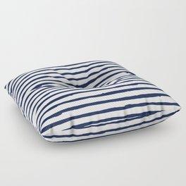 Navy Blue Stripes on White Floor Pillow