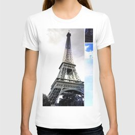 Eiffel Tower Paris in Black and White with Blue Stripe T-shirt