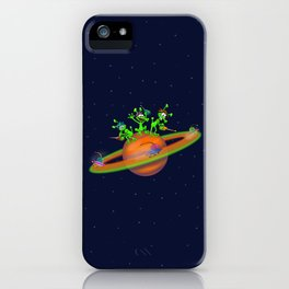 Three cute Martians playing a race in Saturn iPhone Case