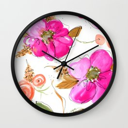 All-Pink Double Spring Floral Wall Clock